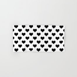 White Black Hearts Minimalist Hand & Bath Towel
