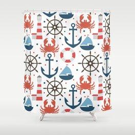 Sea white pattern Shower Curtain