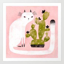 CAT & CACTUS Art Print