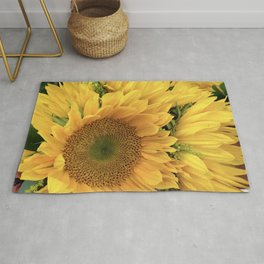 Kissed By the Sun Vibrant, Sunny Sunflowers Rug