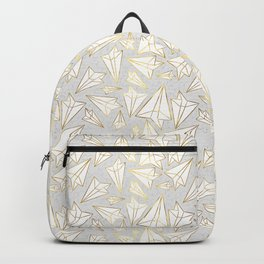 Paper Airplanes Faux Gold on Grey Backpack