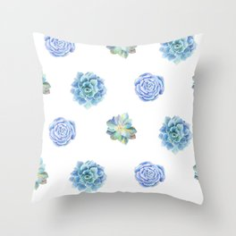 Bue and gren succulents pattern Throw Pillow