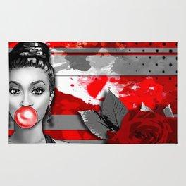 Trash Polka Retro Pinup Girl & Red Rose Rug
