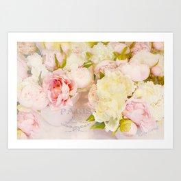 Paris Pink Yellow Peonies  Art Print