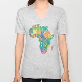 African Continent Cloud Map In Pastels Unisex V-Neck