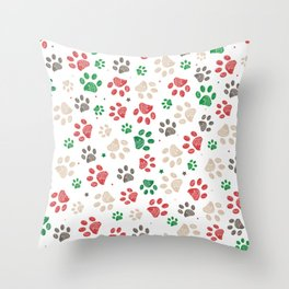 Trace doodle paw prints with stars seamless pattern background with Christmas new years white background Throw Pillow
