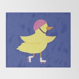 Duck on Roller Skates Throw Blanket