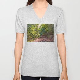 The curve in the rail Unisex V-Neck
