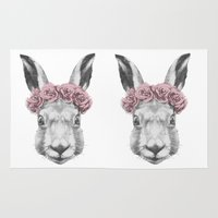 hare Area & Throw Rugs featuring Hare  by Victoria Novak