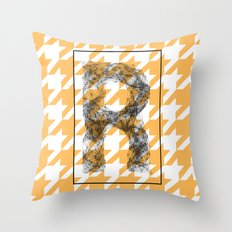 R - network typography on pied de poule Throw Pillow