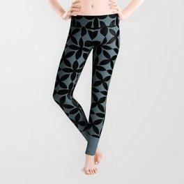 Black Square Petals Graphic Design Pattern on PPG Paint Artifact Blue Leggings