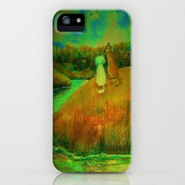 Dogs on hill side water view iPhone Case