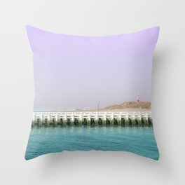 North Sea Pier Throw Pillow