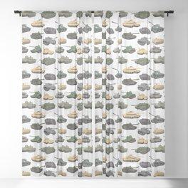 Multiple Battle Tanks Sheer Curtain