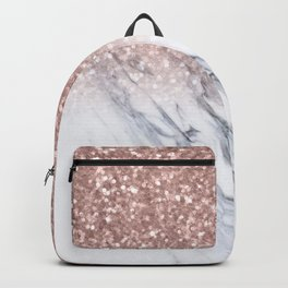 She Sparkles Rose Gold Marble Luxe Backpack