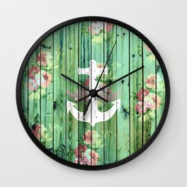 Vintage Floral Nautical Anchor Green Beach Wood Wall Clock