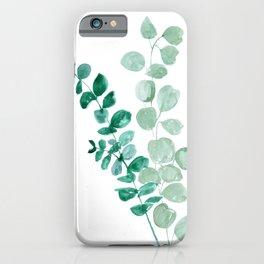 Watercolor eucalyptus leaves iPhone Case