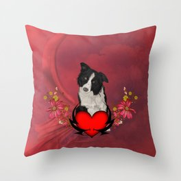 Cute Border Collie with flowers Throw Pillow