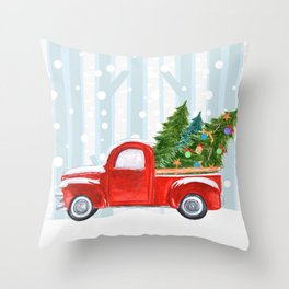 Christmas Red PickUp Truck on a Snowy Road Throw Pillow