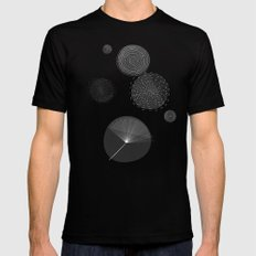 Back and White Retro Mod Flowers by Friztin MEDIUM Mens Fitted Tee Black