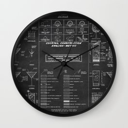 COCKTAIL chalkboard chart Wall Clock