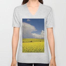 Yellow Canola fields - Landscape Photography #Society6 Unisex V-Neck