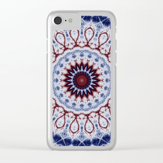Mandala Fractal in Red White and Blue 01 Clear iPhone Case