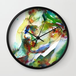 FRIEDRICH NIETZSCHE - watercolor portrait.3 Wall Clock