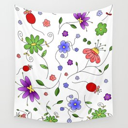 Flower Bed Colorful Wall Tapestry