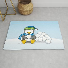 Little penguin sitting with snowballs Rug