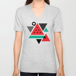 Watermelon Geometic Triangles Unisex V-Neck