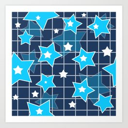 Light blue stars Art Print
