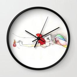 Firewords, nude female figure, NYC artist Wall Clock