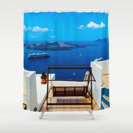 Volcano View,Santorini Shower Curtain