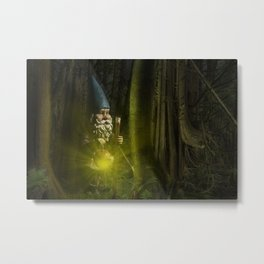 Garden Gnome traveling through the Forest at Night Metal Print