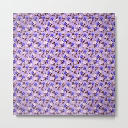 Lilac pink navy blue watercolor hydrangea floral Metal Print