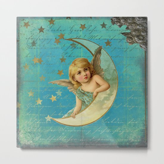 Vintage-Shabby-chic- Beautiful Christmas angel on aqua backround Metal Print