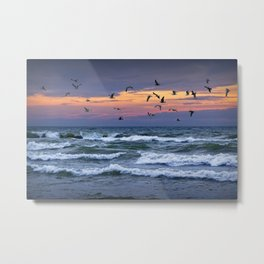 Surf on Lake Michigan with flying Gulls Metal Print