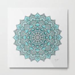 12-Fold Mandala Flower in Turquoise Metal Print
