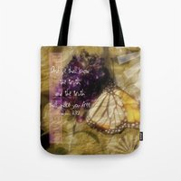 bible verse Tote Bags featuring Truth - Verse by Anita Faye