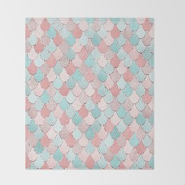 Mermaid Coral, Rose Gold, Pastel Pink, Aqua and Teal, Cute Colorful Pattern Throw Blanket