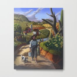 Country Boy and Dog Farm Landscape Painting Metal Print
