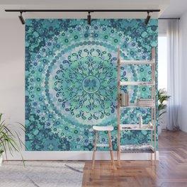 Aqua Mosaic Mandala Wall Mural