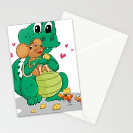 Crocodile and mouse Stationery Cards