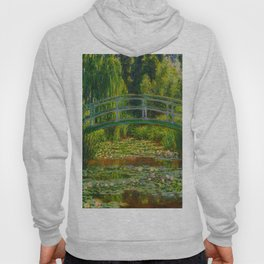 Claude Monet Impressionist Landscape Oil Painting-The Japanese Footbridge and the Water Lily Pool Hoody