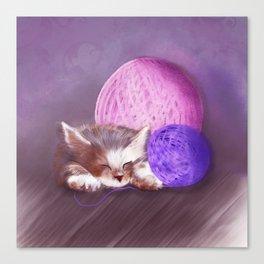 Tiny Sleepy Kitten Canvas Print