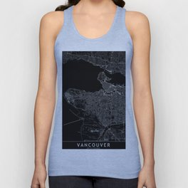 Vancouver Black Map Unisex Tank Top