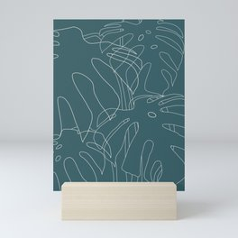 Monstera No2 Teal Mini Art Print
