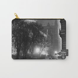 Notre Dame Cathedral, Winter Paris with snowfall black and white photograph / black and white photography Carry-All Pouch