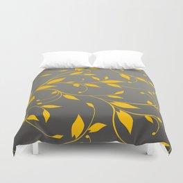 FLOWERY VINES | grey yellow Duvet Cover